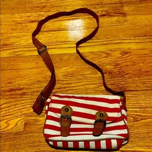 Red & white striped bag with adjustable strap